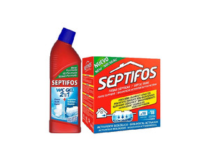 Zestaw: Septifos 648 g 18 saszetek + Bio-żel  do WC Septifos Vigor 750 ml